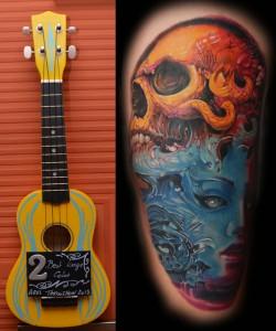 II miejsce dla Piotra w konkurencji tatuaż duży kolorowy na konwencji w Arlon.